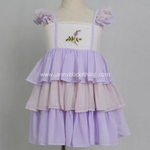 Boutique Purple Embroidered Chiffon Ruffle Girl Dress
